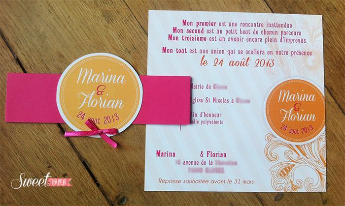Bekannt faire part mariage fleur | Sweet Paper YE87